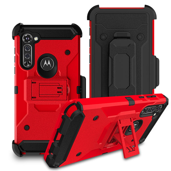 Moto G Stylus - Premium Rugged Holster Clip Case - Red