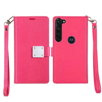 Moto G Stylus - Premium Magnetic Snap Wallet Credit Card Holder - Hot Pink