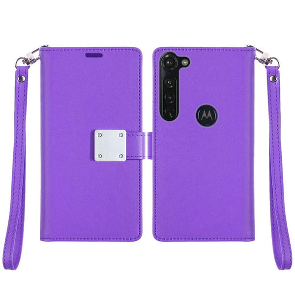 Moto G Stylus - Premium Magnetic Snap Wallet Credit Card Holder - Purple