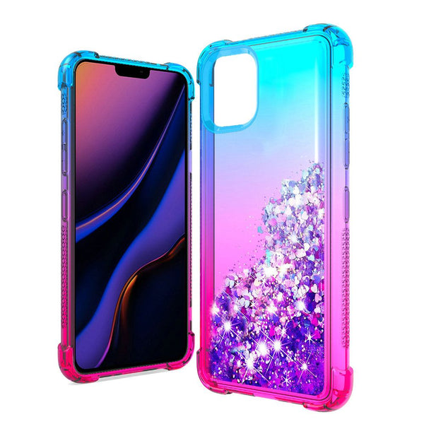 Apple iPhone 11 Pro - Premium Liquid Glitter Case - Blue/Hot Pink