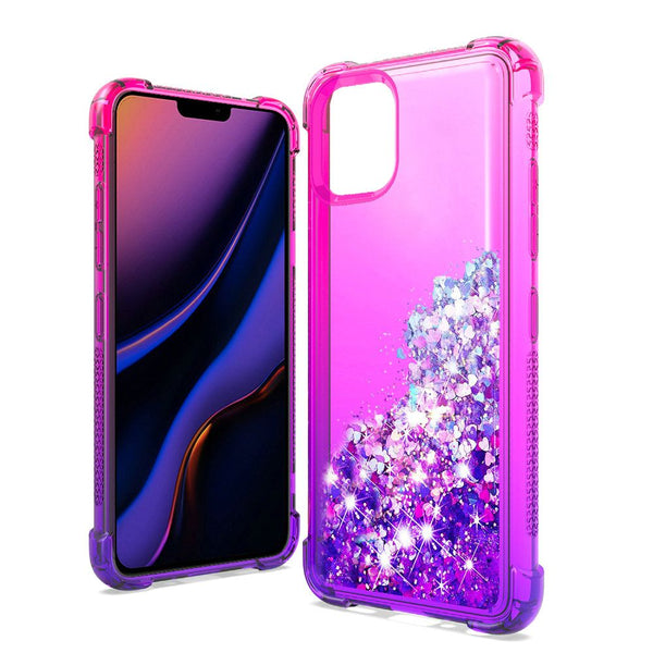 Apple iPhone 11 Pro - Premium Liquid Glitter Case - Hot Pink/Purple