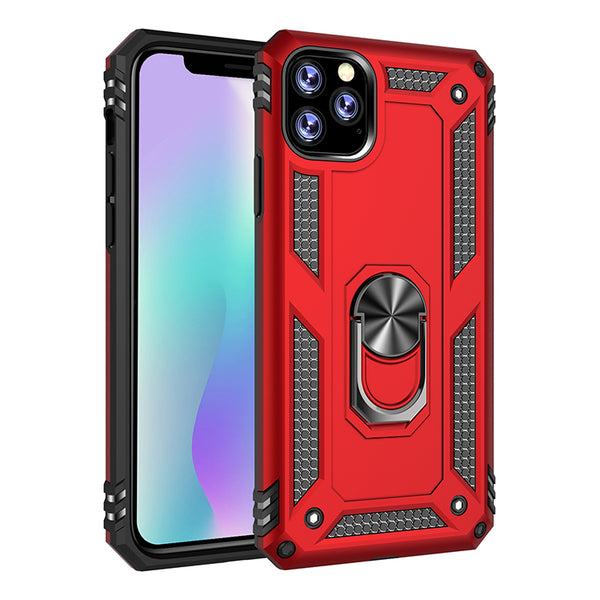 Apple iPhone 11 - Premium Ring Magnetic Kickstand Case - Red