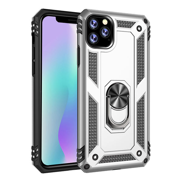 Apple iPhone 11 Pro - Premium Ring Magnetic Kickstand Case - Silver