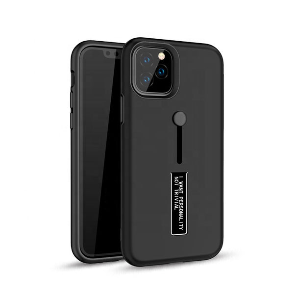 Apple iPhone 11 Pro - Premium Slide Ring Magnetic Kickstand Case - Black
