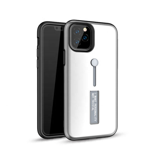 Apple iPhone 11 Pro - Premium Slide Ring Magnetic Kickstand Case - Silver