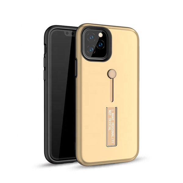 Apple iPhone 11 Pro - Premium Slide Ring Magnetic Kickstand Case - Gold