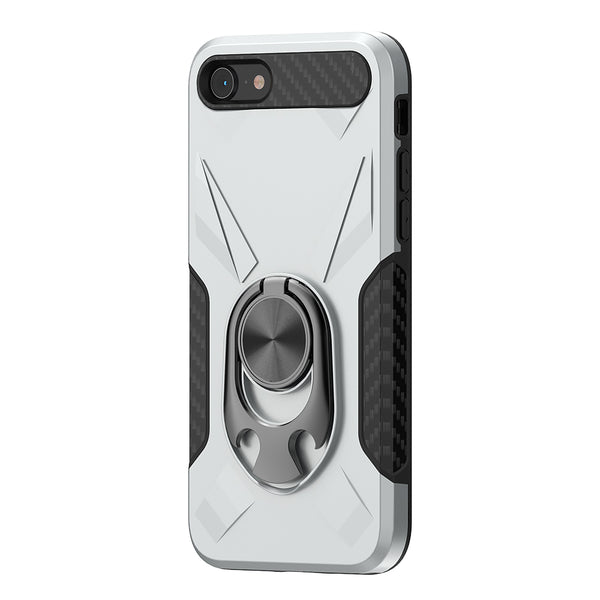 Apple iPhone SE 2020/6/7/8 - Premium Ring Commander Magnetic Case - Silver