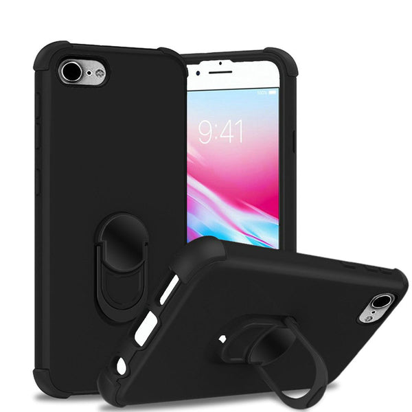 Apple iPhone SE 2020/6/7/8 - Premium Hybrid Ring Kickstand Case - Black