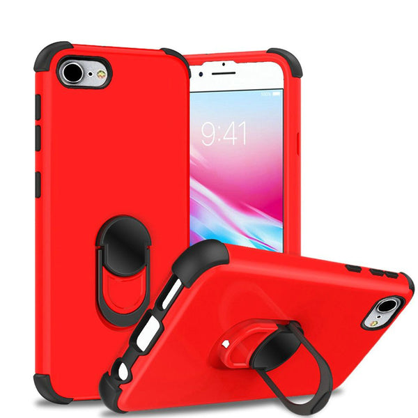 Apple iPhone SE 2020/6/7/8 - Premium Hybrid Ring Kickstand Case - Red