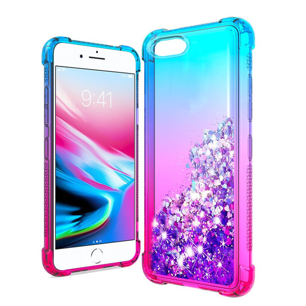 Apple iPhone SE 2020/6/7/8 - Premium Liquid Glitter - Blue/Hot Pink