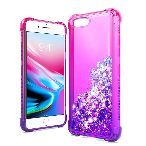 Apple iPhone SE 2020/6/7/8 - Premium Liquid Glitter - Hot Pink/Purple