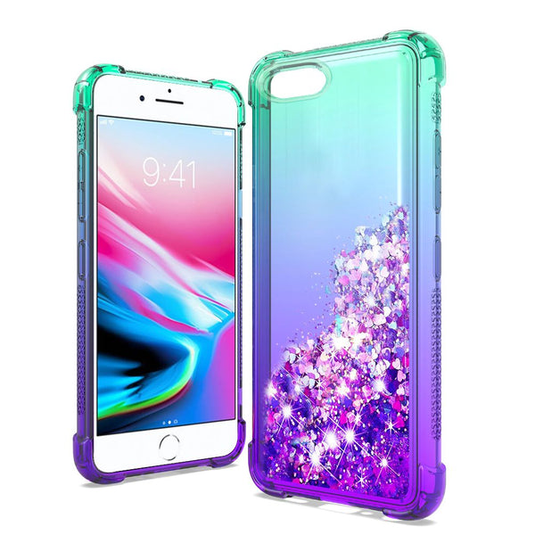 Apple iPhone SE 2020/6/7/8 - Premium Liquid Glitter - Teal/Purple