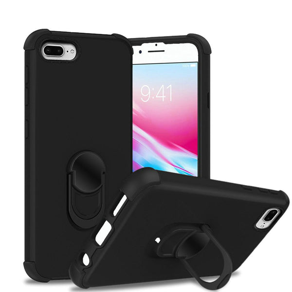Apple iPhone 6/7/8 Plus - Premium Hybrid Ring Kickstand Case - Black