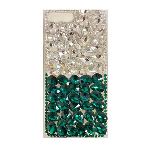 Apple iPhone 6/7/8 Plus - Premium Rhinestone Case - Green/Silver