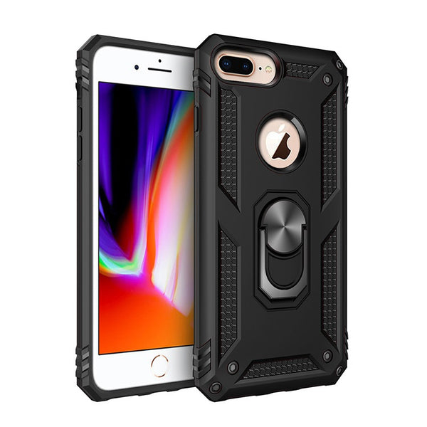 Apple iPhone 6/7/8 Plus - Premium Ring Magnetic Kickstand Case - Black