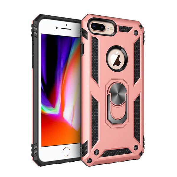 Apple iPhone 6/7/8 Plus - Premium Ring Magnetic Kickstand Case - Rose Gold
