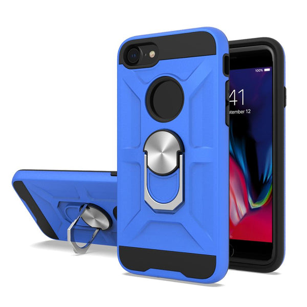 Apple iPhone SE 2020/6/7/8 - Premium Robot Ring Magnetic Kickstand Case - Blue