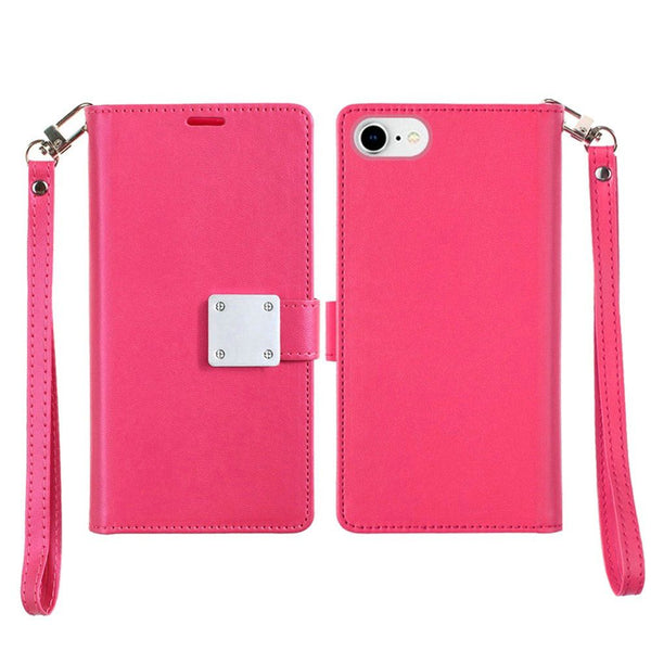 Apple iPhone SE 2020/6/7/8 - Premium Magnetic Snap Wallet Credit Card Holder - Pink