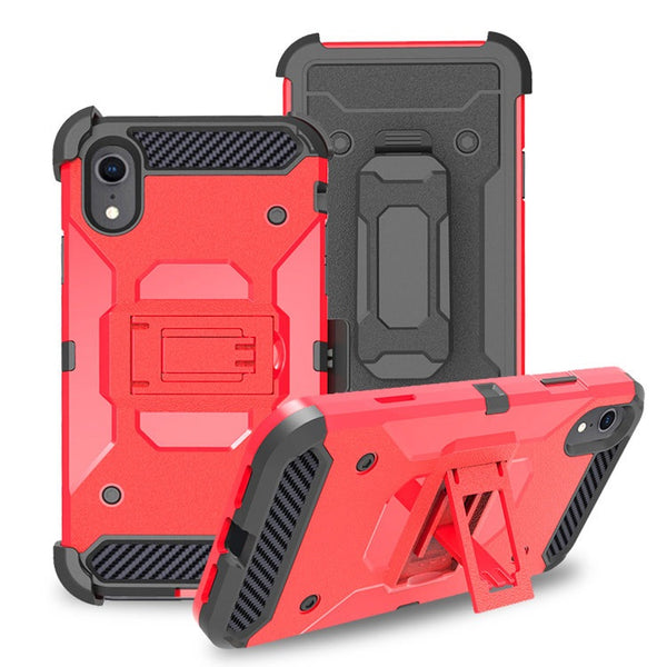Apple iPhone XS - Premium Rugged Holster Clip Case - Red