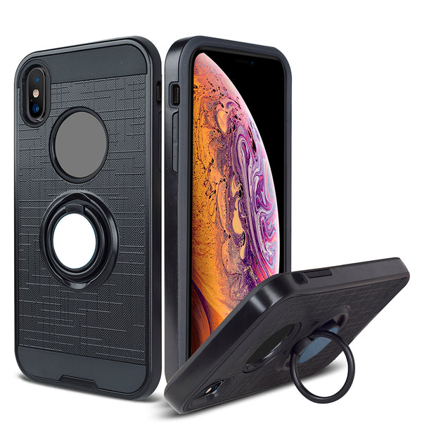 Apple iPhone XS - Ring Magnetic Kickstand Case - Black