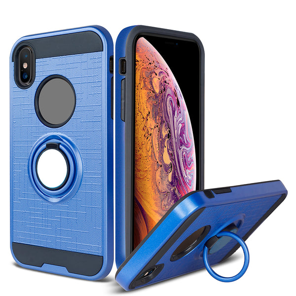Apple iPhone XS - Ring Magnetic Kickstand Case - Blue