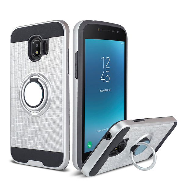 Samsung Galaxy J2 - Ring Magnetic Kickstand Case - Silver