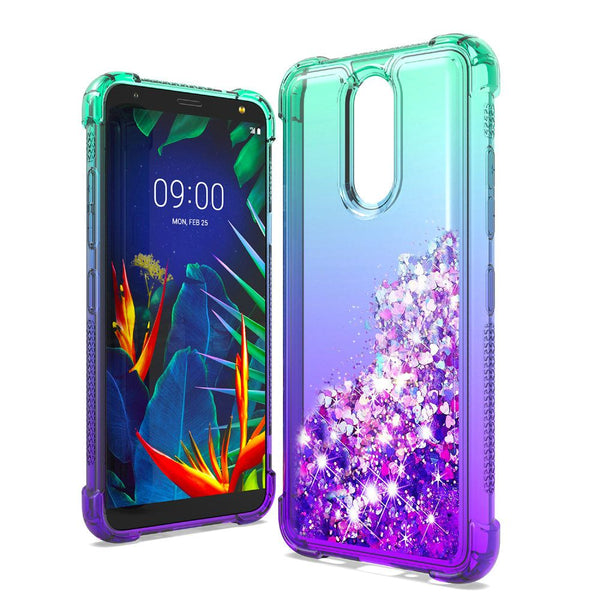 LG K40 - Premium Liquid Glitter Case - Teal/Purple