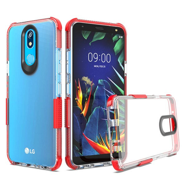 LG K40 - Premium Clear Shockproof Case - Red