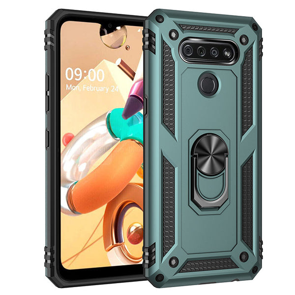 LG K51 - Premium Ring Magnetic Kickstand Case - Green