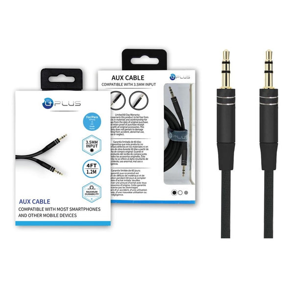 Premium Aux Cable 4ft Compatible with 3.5mm Input - Black