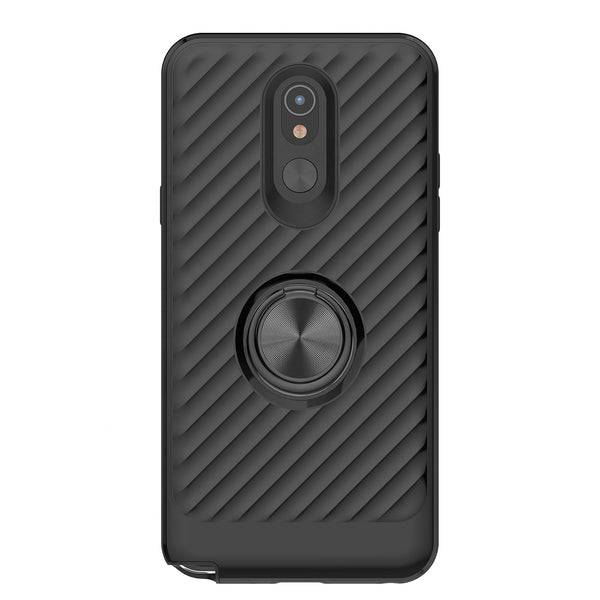 LG Stylo 5 - Premium Ring Admiral Magnetic Kickstand Case - Black