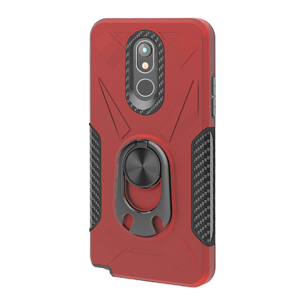 LG Stylo 5 - Premium Ring Commander Magnetic Case - Red