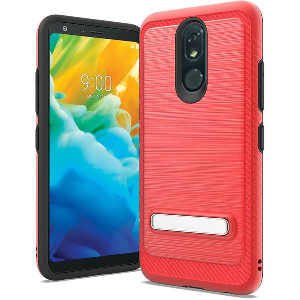 LG Stylo 5 - Premium Brushed Slim Kickstand Case - Red