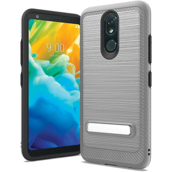 LG Stylo 5 - Premium Brushed Slim Kickstand Case - Gray