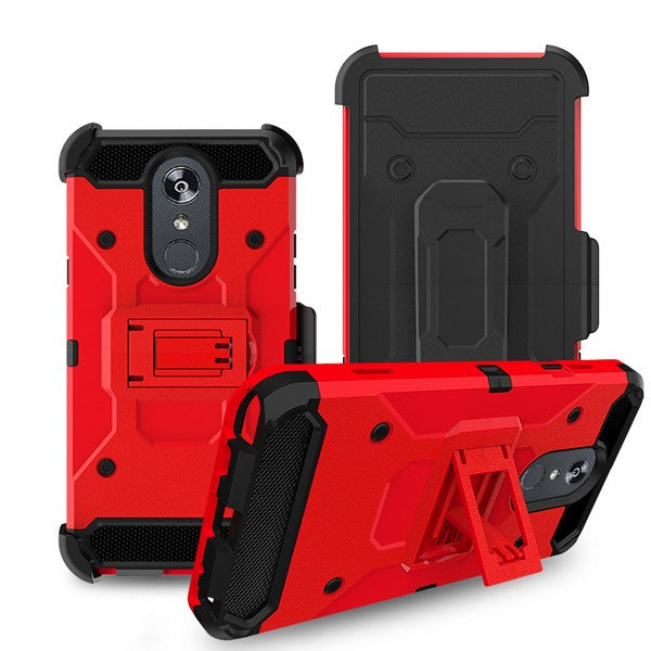 LG Stylo 5 - Premium Rugged Holster Clip Case - Red