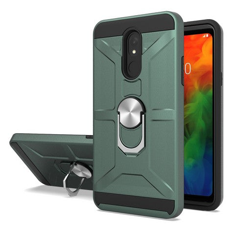 LG Stylo 5 - Premium Robot Ring Magnetic Kickstand Case - Green