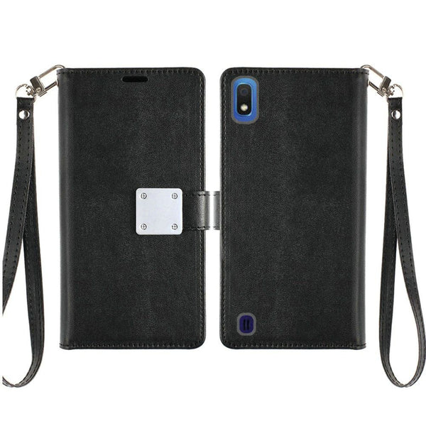 LG Stylo 5 - Premium Magnetic Snap Wallet Credit Card Holder - Black