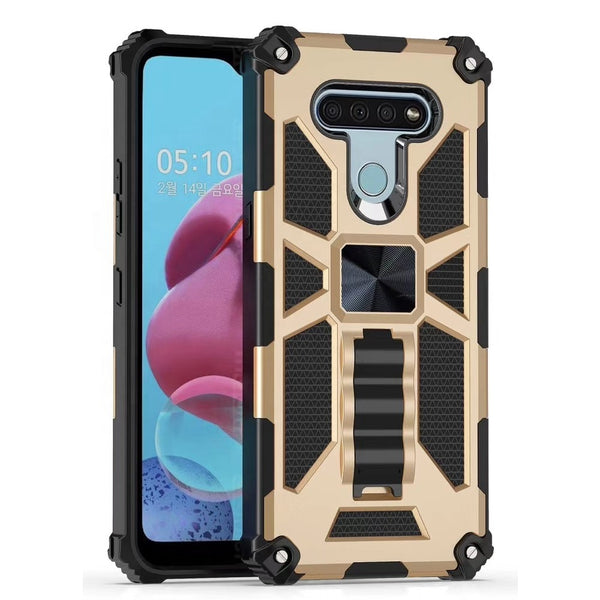 LG Stylo 6 - Premium Rugged Magnetic Kickstand Case - Gold