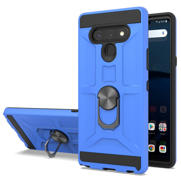 LG Stylo 6 - Premium Robot Ring Magnetic Kickstand Case - Blue