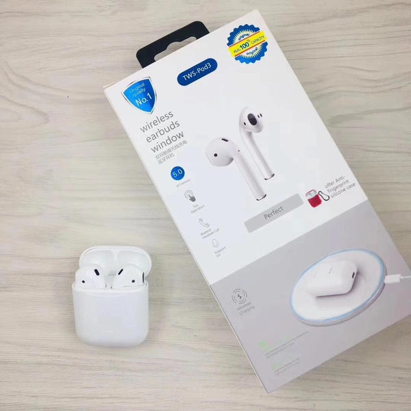 TWS Pod3 - Wireless Earbuds Earphones Touch Control Wireless Charging - White