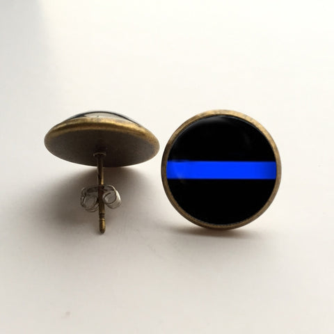 Thin Blue Line Stud Earrings