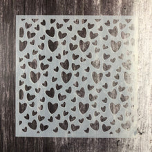 "Load image into Gallery viewer, Scattered Hearts 6 x6"" Stencil"