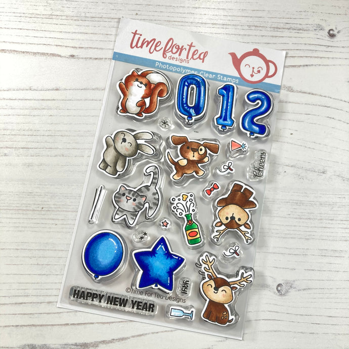 Happy New Year Critters Clear Stamp Set