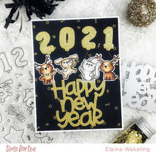 Load image into Gallery viewer, Happy New Year Critters Stamp and Die Collection