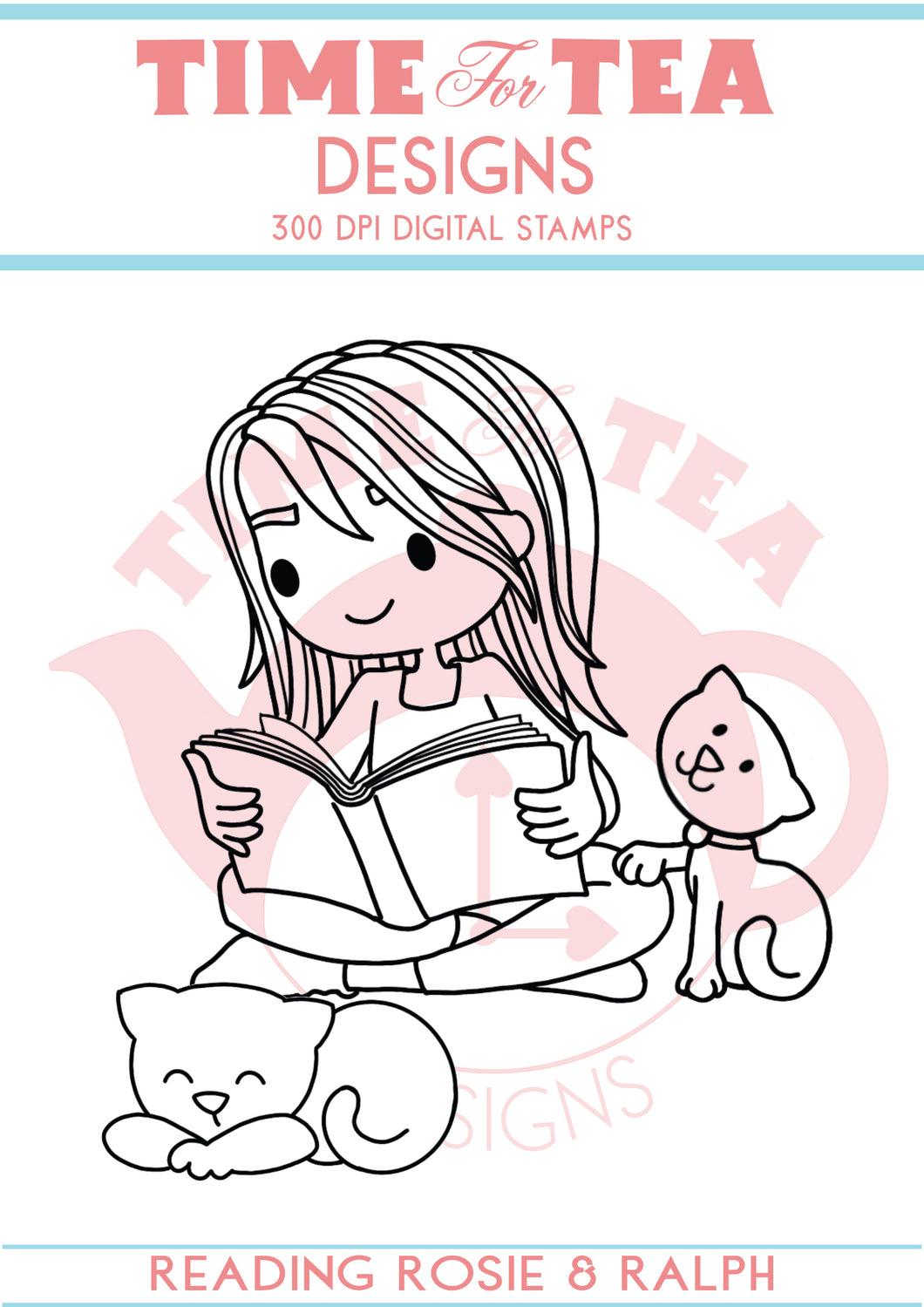 Reading Rosie and Ralph Digital Stamp