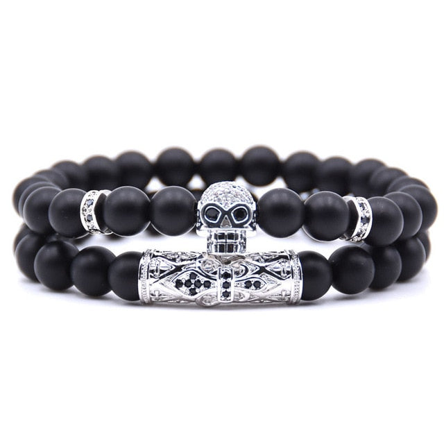 BRACELET ONXY SKULL DOUBLE (2pcs/set) - Zensitize | Official Store