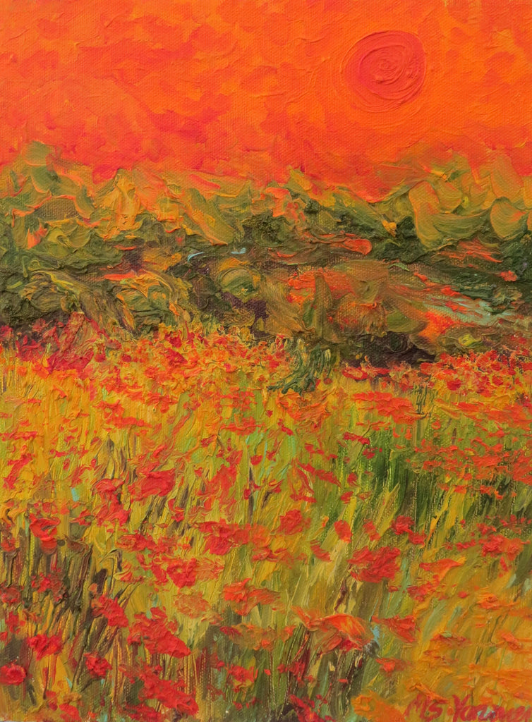 Coral Sunset on Poppies