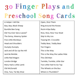 Preschool Finger Play and Song Cards