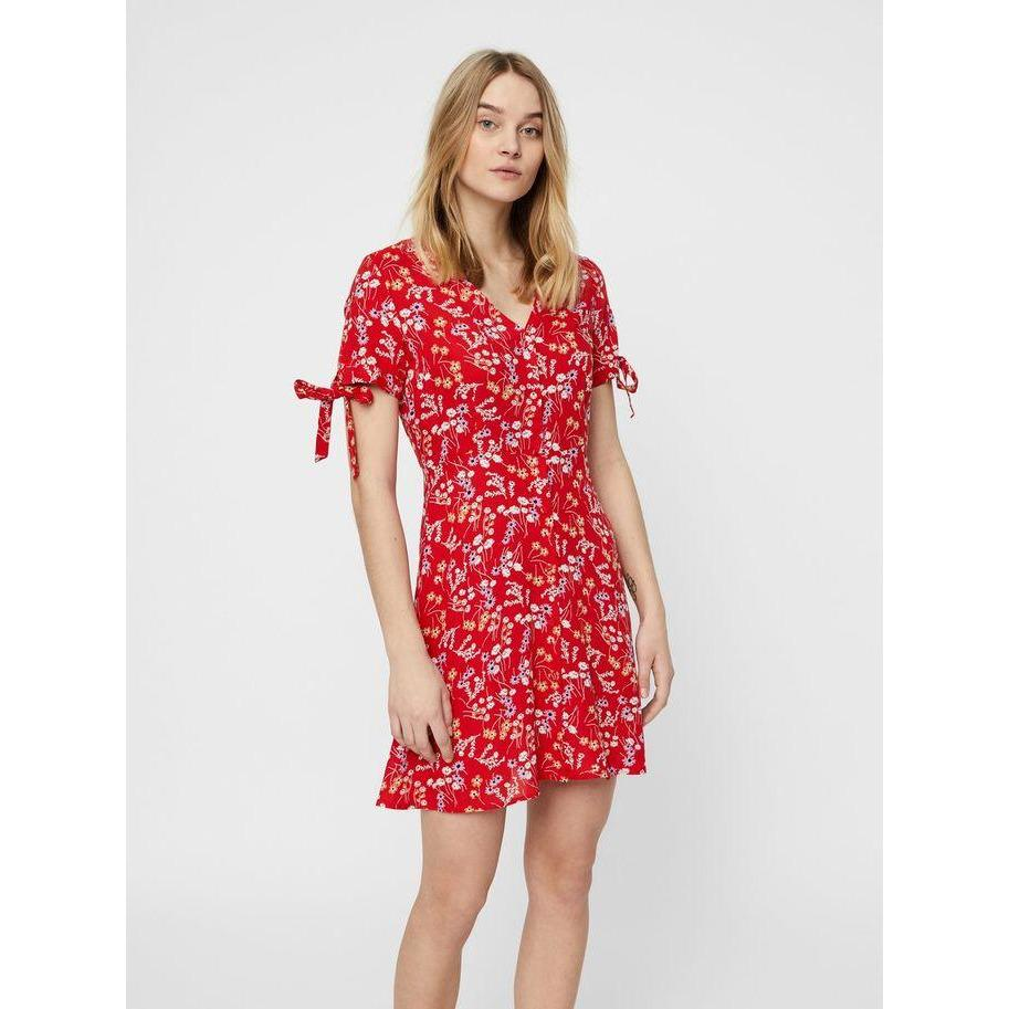 VERO MODA : Short Sleeved Short Dress Red