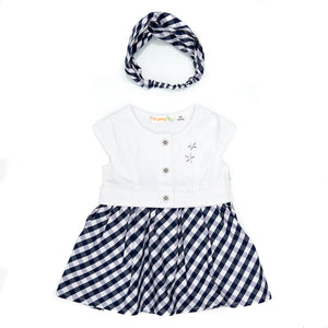 BABYBOL : Navy & White gingham dress